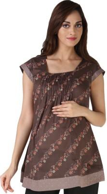 Morph Maternity Casual Short Sleeve Printed Women's Brown Top