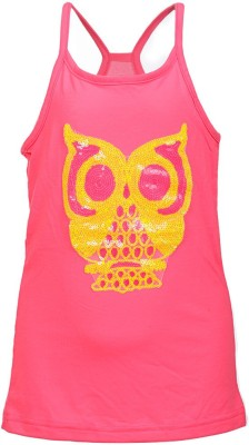 Lil Poppets Casual Sleeveless Self Design Girl's Pink Top