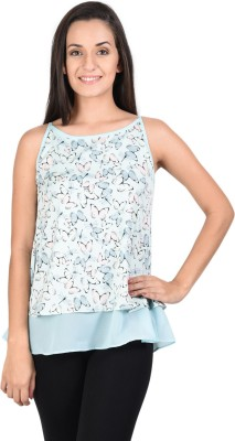 Whistle Casual Sleeveless Printed Women's Light Blue Top