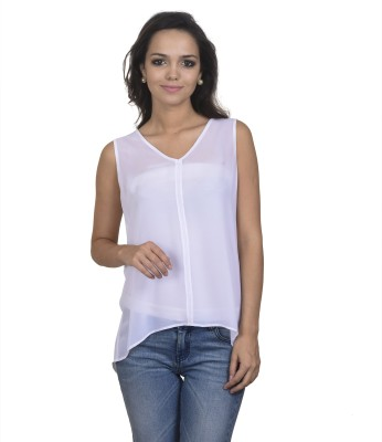 Antilia Femme Casual Sleeveless Solid Women's White Top