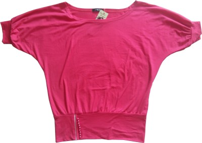 Symbol Couture Casual 3/4 Sleeve Solid Women's Pink Top