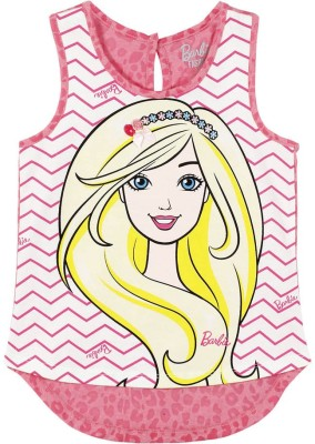 Barbie Casual Sleeveless Graphic Print Girl's Pink, White Top