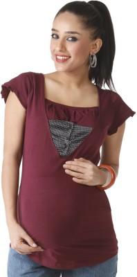 Morph Maternity Casual Short Sleeve Solid Women's Maroon Top