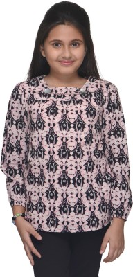 Citypret Casual Full Sleeve Floral Print Girl's Pink Top