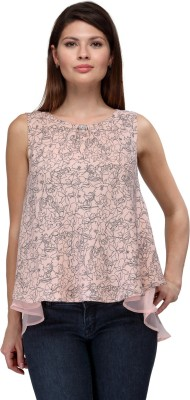 FW Collection Casual Sleeveless Printed Women's Beige Top