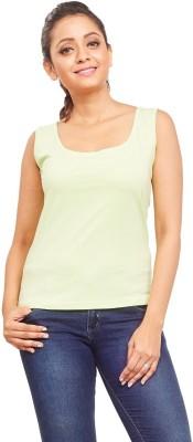 ELINA Casual, Party, Sports, Lounge Wear, Beach Wear Sleeveless Solid Women's Green Top