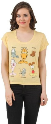 Garfield Casual Short Sleeve Printed Women's Gold, Yellow Top
