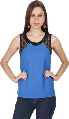 Lemon Chillo Casual Sleeveless Solid Women's Blue Top