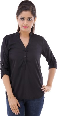 Fille Divin Casual 3/4 Sleeve Solid Women's Black Top