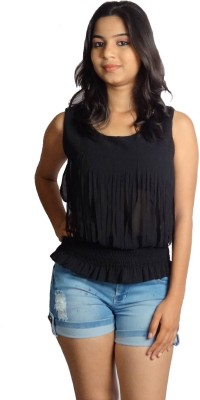 Oomph Factor Casual, Party Sleeveless Self Design Women's Black Top