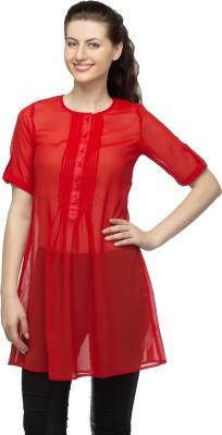 Bantry Casual 3/4 Sleeve Solid Women's Orange Top