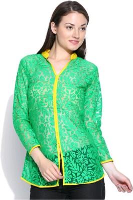 Shopaholic Casual 3/4 Sleeve Self Design Women's Green, Yellow Top
