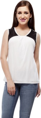 Peptrends Casual Sleeveless Solid Women's White Top