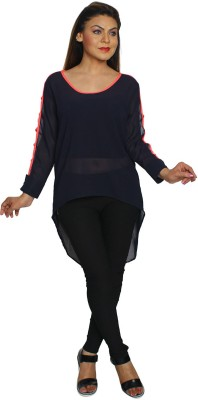 Feyona Casual Full Sleeve Solid Women's Blue Top