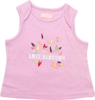 Jus Cubs Casual Sleeveless Embroidered Baby Girl's Pink Top