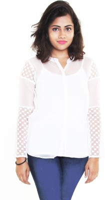 Aggana Casual Full Sleeve Solid Women's White Top