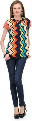 1OAK Casual Short Sleeve Geometric Print Women's Multicolor Top