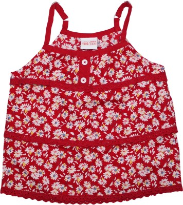 FS Mini Klub Casual Sleeveless Printed Girl's Red Top