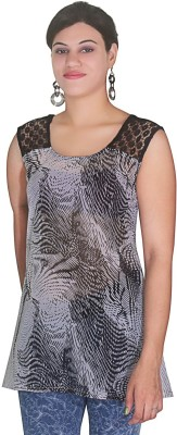 Selfi Casual Sleeveless Printed Women's Black Top