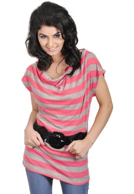My Hollywood Shop Casual Short Sleeve Striped Women's Pink Top