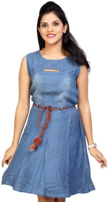 Carrel Casual Sleeveless Solid Women's Blue Top