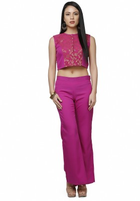 Abhishti Festive Sleeveless Self Design Women's Pink Top