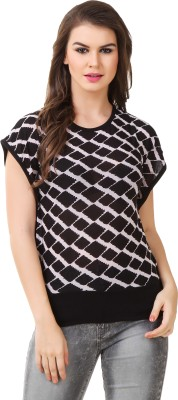 Modattire Casual Short Sleeve Printed Women,s Black, White Top