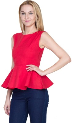 Golden Couture Casual, Formal, Party Sleeveless Solid Women's Red Top