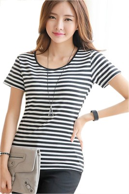 Brandstand Casual Short Sleeve Striped Women,s White Top