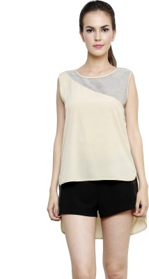 I Am For You Casual Sleeveless Solid, Embellished Women's Grey Top