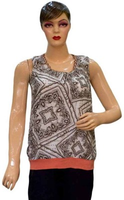 Acceptable Trading Co. Casual Sleeveless Printed Women's Brown Top
