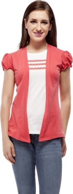Peptrends Casual Puff Sleeve Solid Women's Pink Top