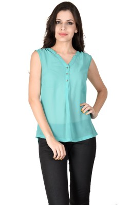 Latin Quarters Casual Sleeveless Solid Women,s Green Top