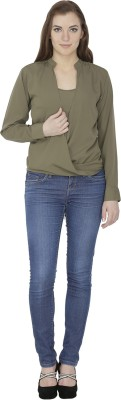 Famous by Payal Kapoor Casual Full Sleeve Solid Women's Green Top
