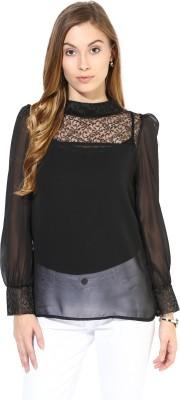 La Zoire Party Full Sleeve Solid Women's Black Top
