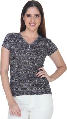 Fast n Fashion Casual Short Sleeve Geometric Print Women's Purple Top