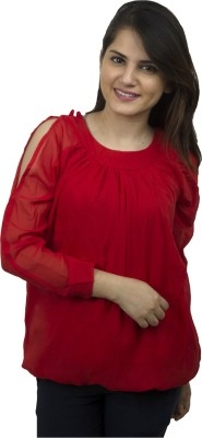 Kaaf Fashion Party, Casual Full Sleeve Solid Women's Red Top