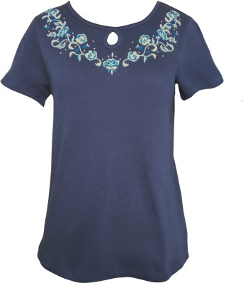 Girl Confidential Casual Short Sleeve Embroidered Women's Blue Top