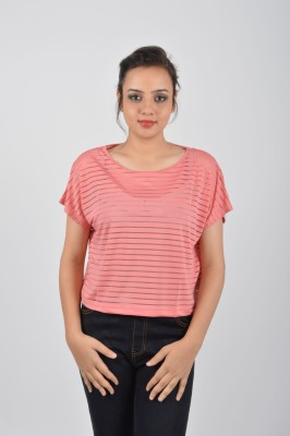 Merch21 Casual Short Sleeve Printed Women's Pink Top