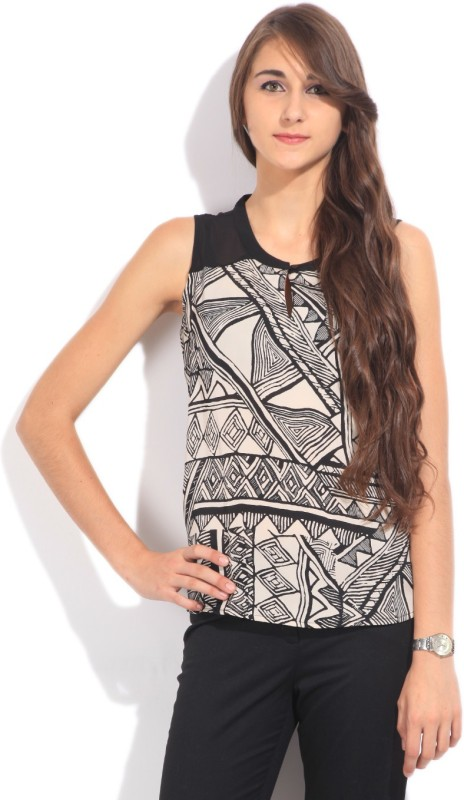 Arrow Casual Sleeveless Printed Women's White, Black Top