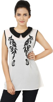 Whistle Casual Sleeveless Embroidered Women's Black, White Top