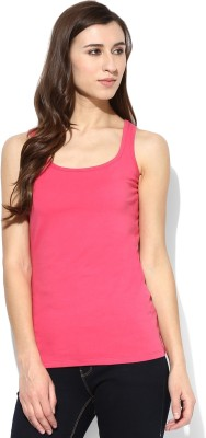 Tshirt Company Casual Sleeveless Solid Women's Pink Top