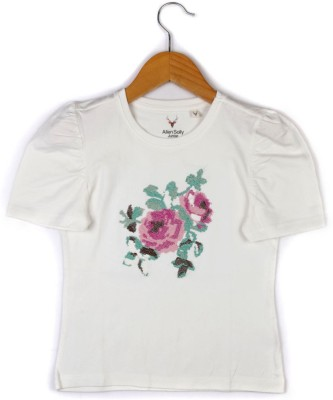 Allen Solly Casual Short Sleeve Embroidered Girl's White Top