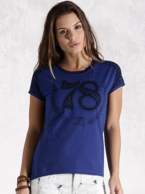 Roadster Casual Short Sleeve Printed Women's Blue Top