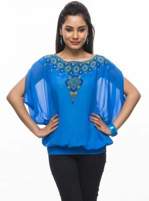 Moda Vastra Casual Sleeveless Embroidered Women's Blue Top