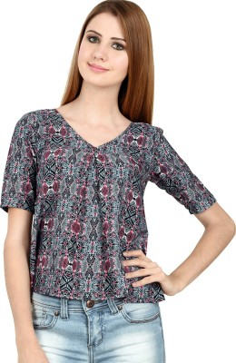 LA ATTIRE Casual 3/4 Sleeve Geometric Print Women's Multicolor Top