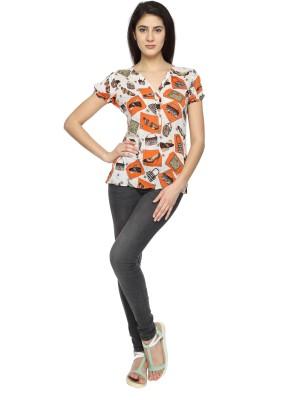 Texco Garments Casual Short Sleeve Printed Women's Orange Top