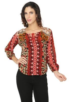 Philigree Casual Full Sleeve Animal Print Women,s Red Top