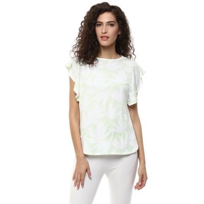 BLUE ISLE Casual Short Sleeve Self Design Women's Green Top