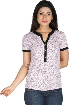 Modimania Casual, Formal, Festive, Party Short Sleeve Self Design Women's Pink Top